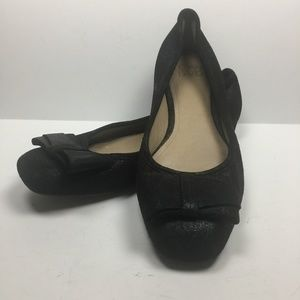 JOAN & DAVID Black Sparkle Suede Ballet Flats Bow